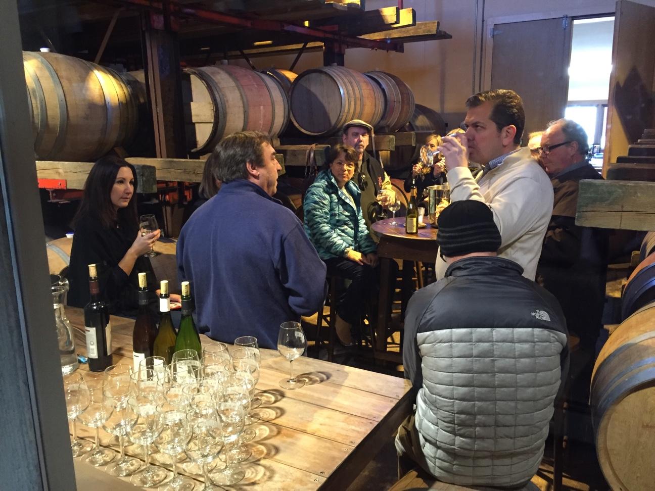 winemaker barrel room talk and tasting