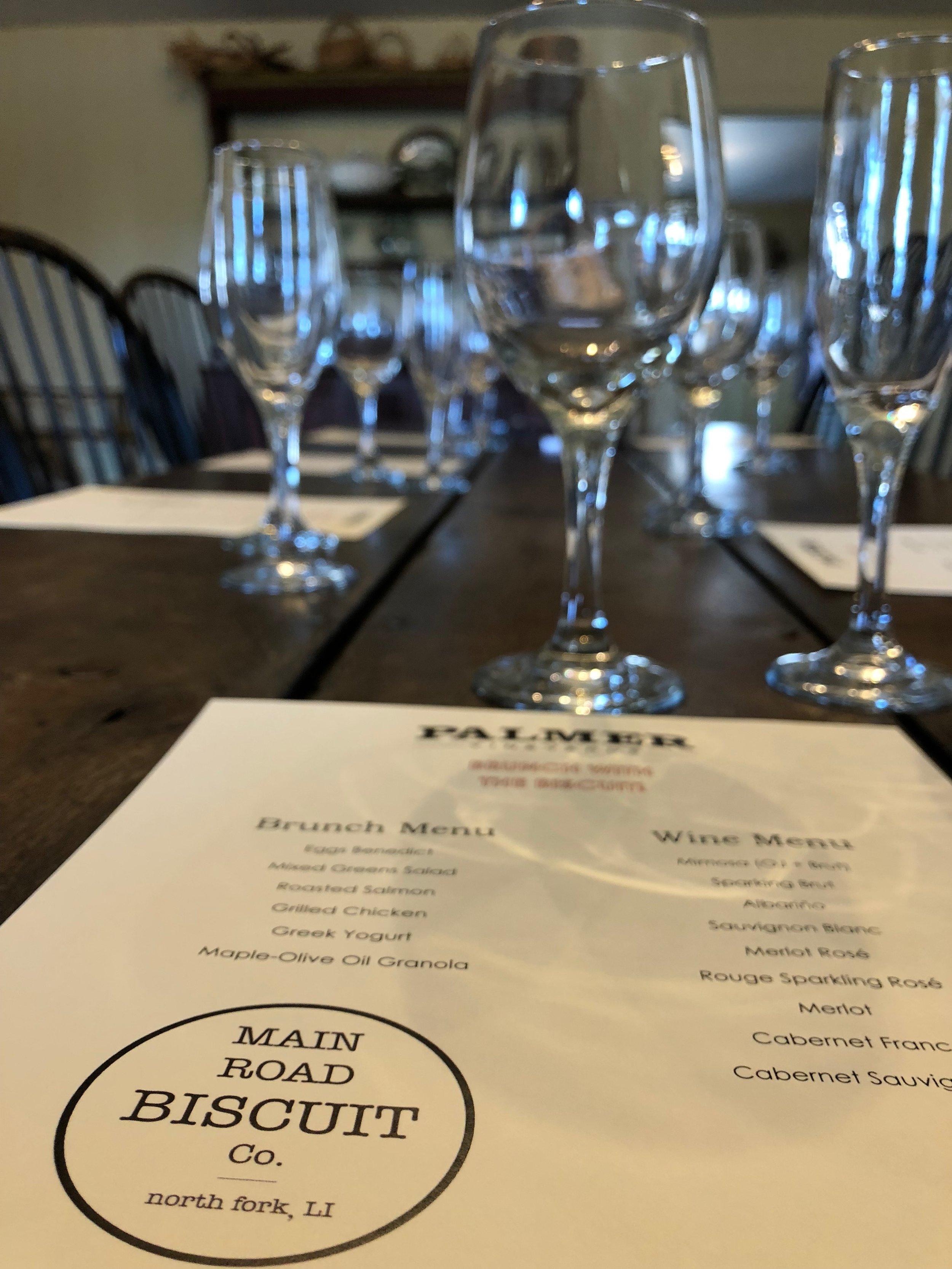 wine dinner menu with wine glasses