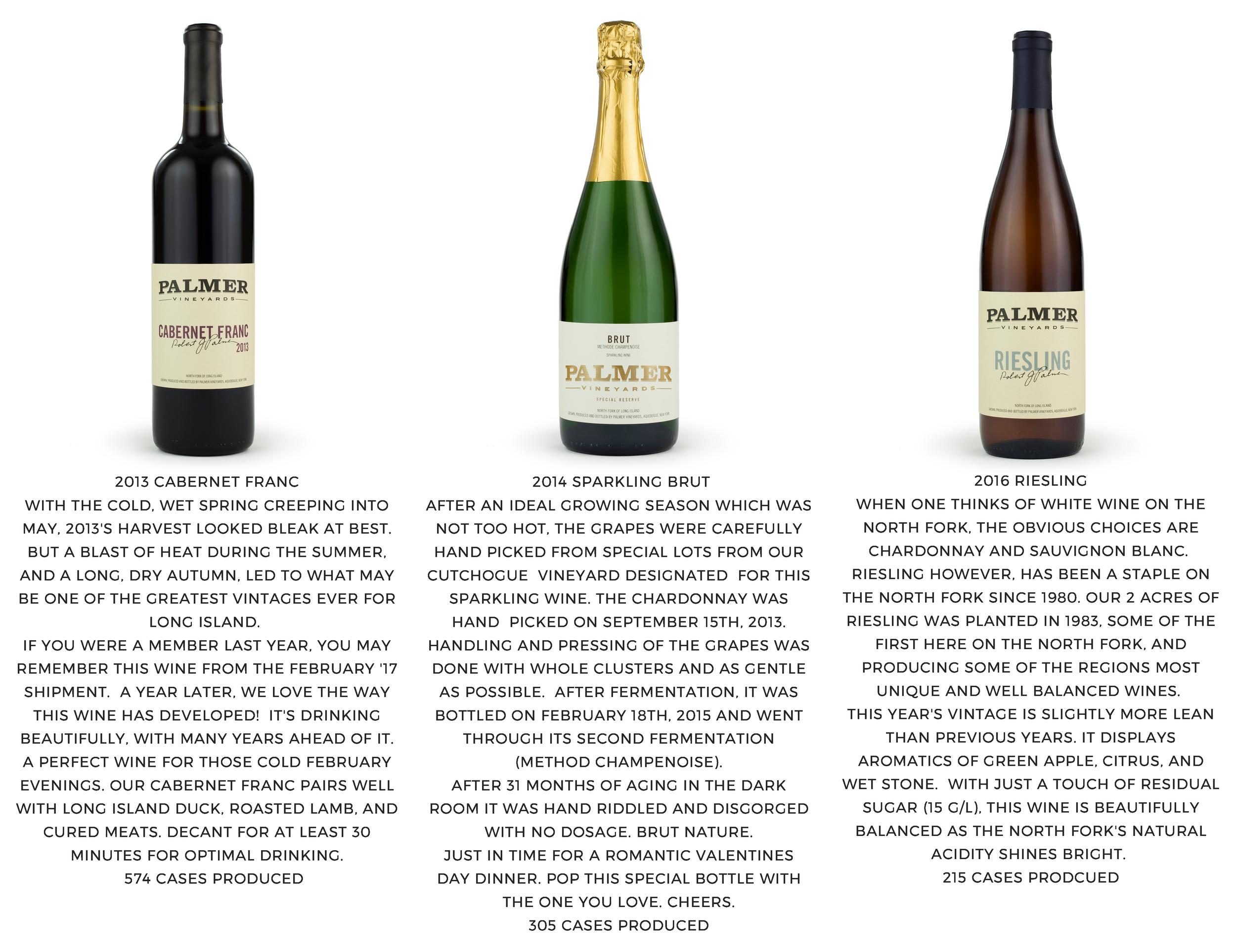 Three Palmer Wine Bottles