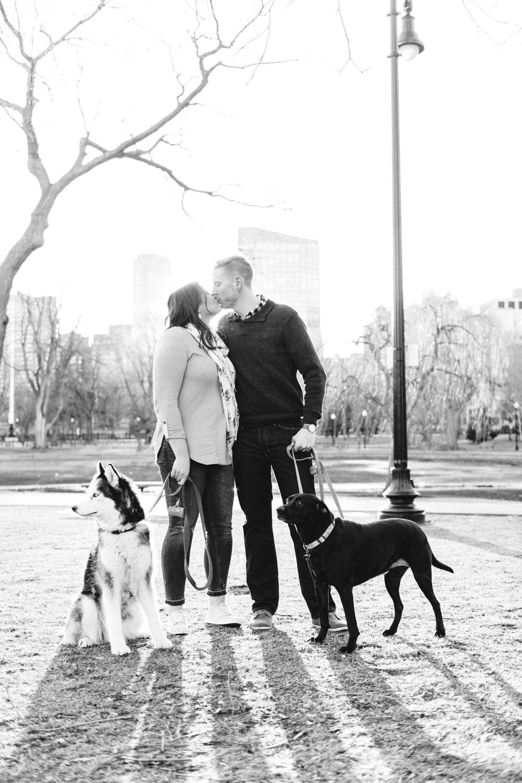 Andrea + Scott | Dog Lovers Boston Spring Sunrise Engagement Session | Boston and New England Engagement Photography | Lorna Stell Photo