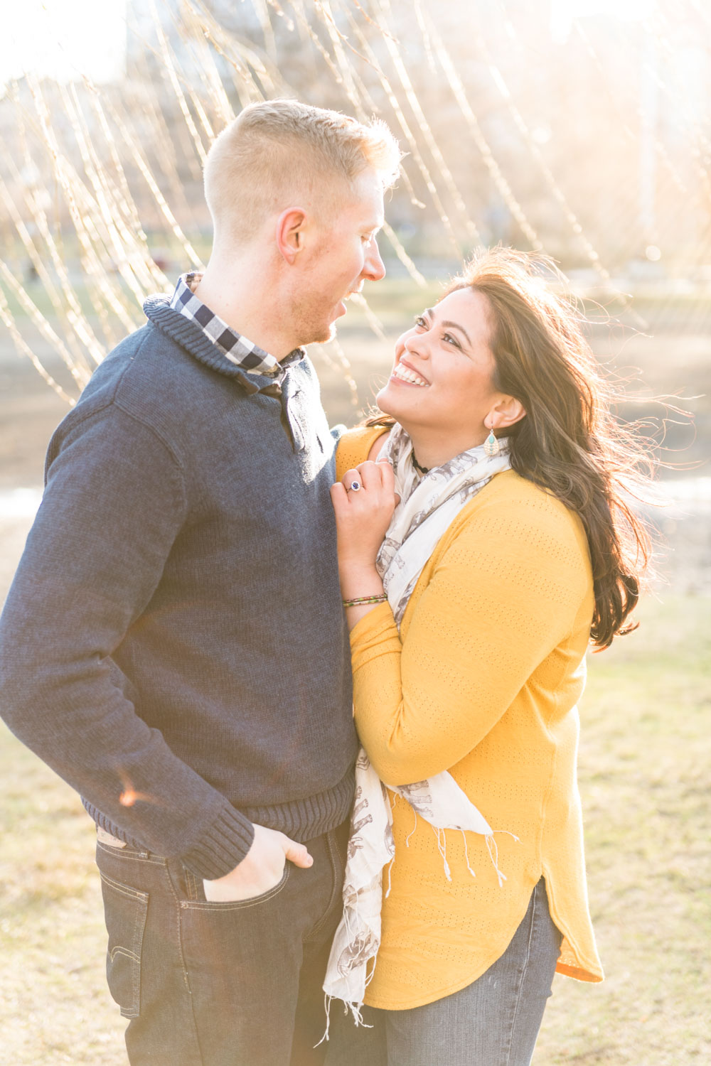 Andrea + Scott | Dog Lovers Boston Public Garden Casual Spring Sunrise Engagement Session | Boston and New England Engagement Photography | Lorna Stell Photo