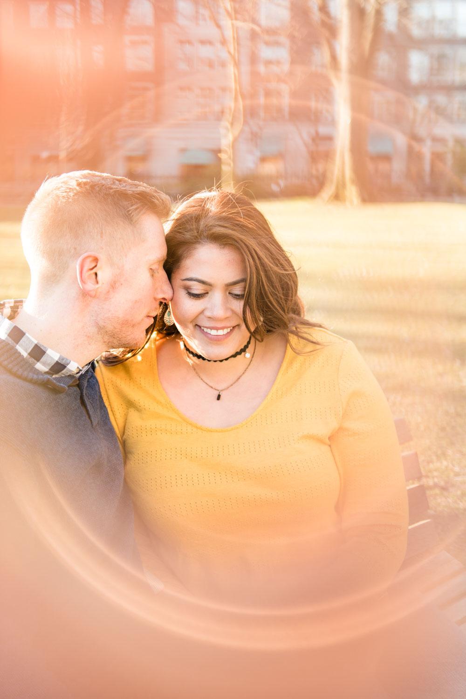Andrea + Scott | Dog Lovers Boston Public Garden Casual Spring Sunrise Creative Alternative Organic Romantic Engagement Session | Boston and New England Engagement Photography | Lorna Stell Photo