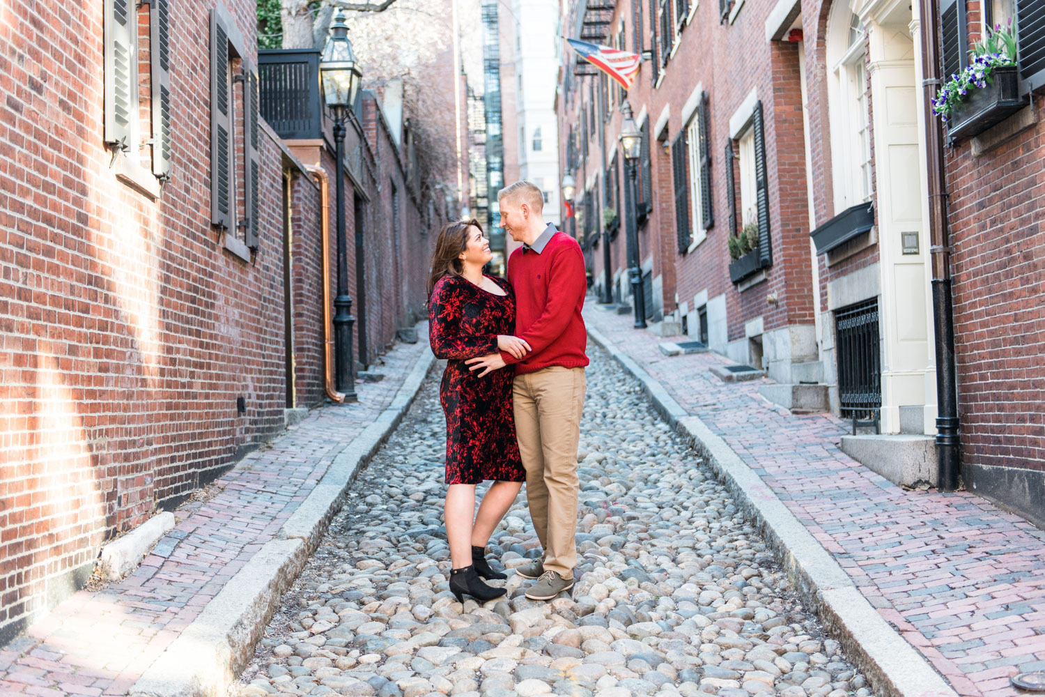 Andrea + Scott | Dog Lovers Beacon Hill Formal Spring Sunrise Creative Organic Romantic Engagement Session | Boston and New England Engagement Photography | Lorna Stell Photo
