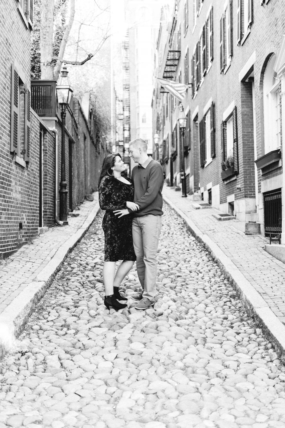 Andrea + Scott | Dog Lovers Beacon Hill Formal Spring Sunrise Creative Organic Romantic Black and White Engagement Session | Boston and New England Engagement Photography | Lorna Stell Photo