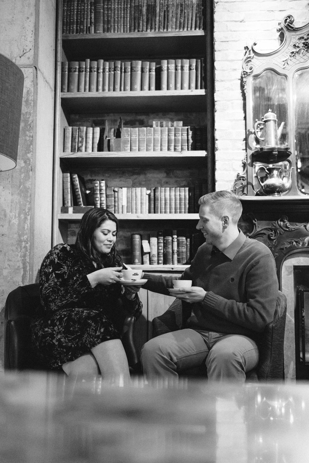 Andrea + Scott | Dog Lovers Cafe Coffee Shop Formal Spring Sunrise Creative Organic Romantic Engagement Session | Boston and New England Engagement Photography Black and White | Lorna Stell Photo