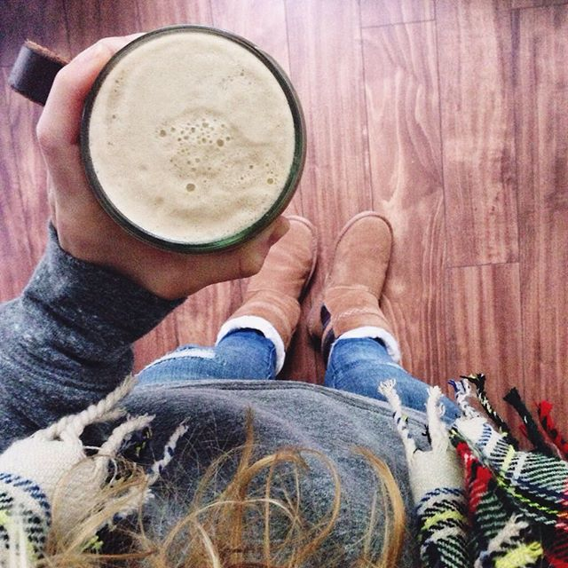 Currently loving: these cozy Minnetonka boots (similar  here  and  here ), plaid scarves, and peppermint bulletproof lattes in a mason jar.