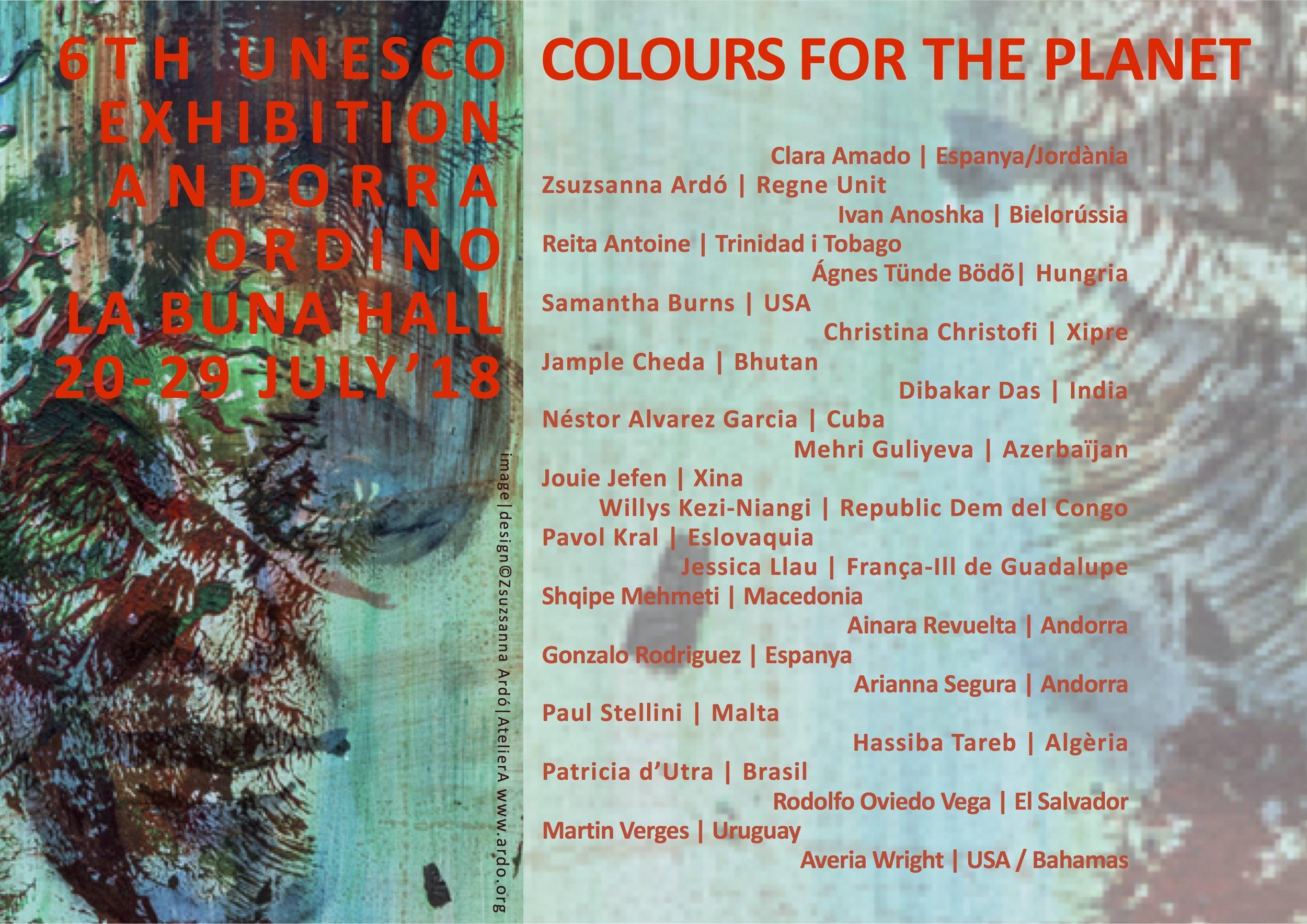 18 Andorra UNESCO Exhibition 20-29 July 2018 poster w ARTISTS©Zsuzsanna Ardó.jpg