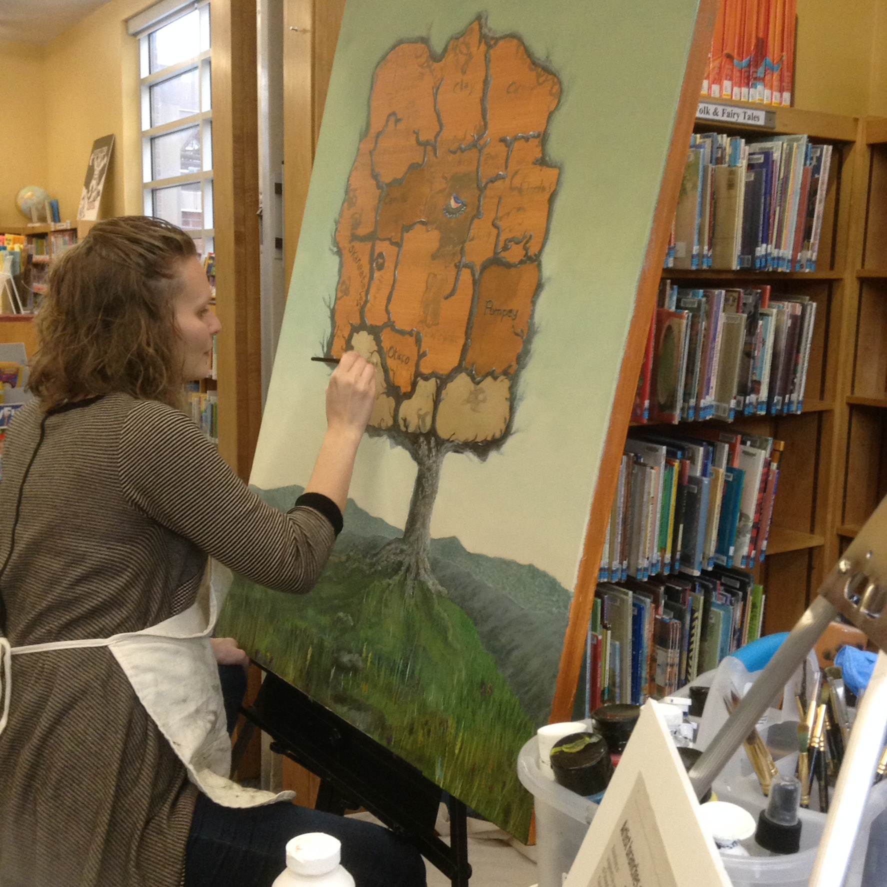 Stasya painting the Symbolic Tree