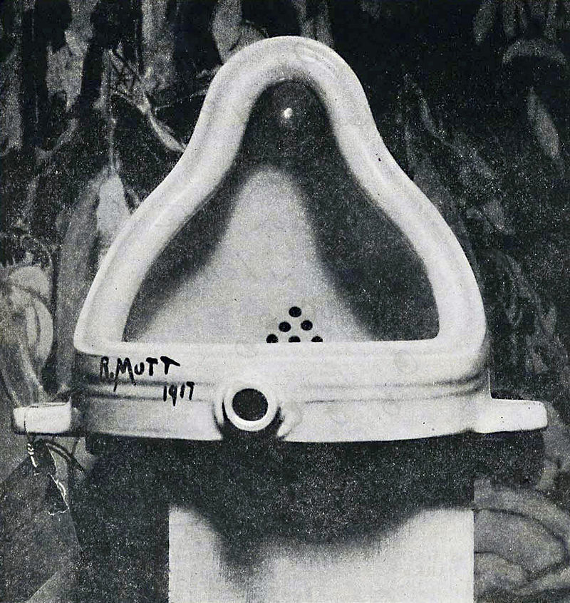 The original  Fountain  by Marcel Duchamp photographed by  Alfred Stieglitz  at the  291  (Art Gallery) after the 1917 Society of Independent Artists exhibit. Stieglitz used a backdrop of  The Warriors  by Marsden Hartley to photograph the urinal. https://en.wikipedia.org/wiki/Fountain_(Duchamp)
