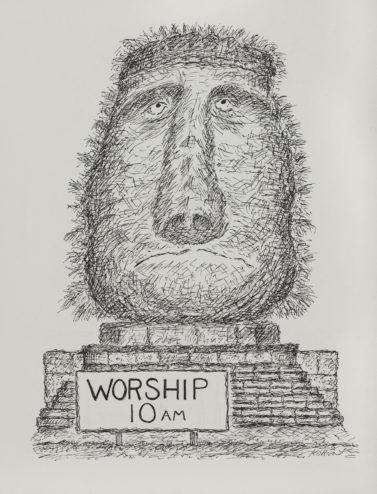 Edward Koren, Worship 10 a.m., 1991, SUArt Gallery.