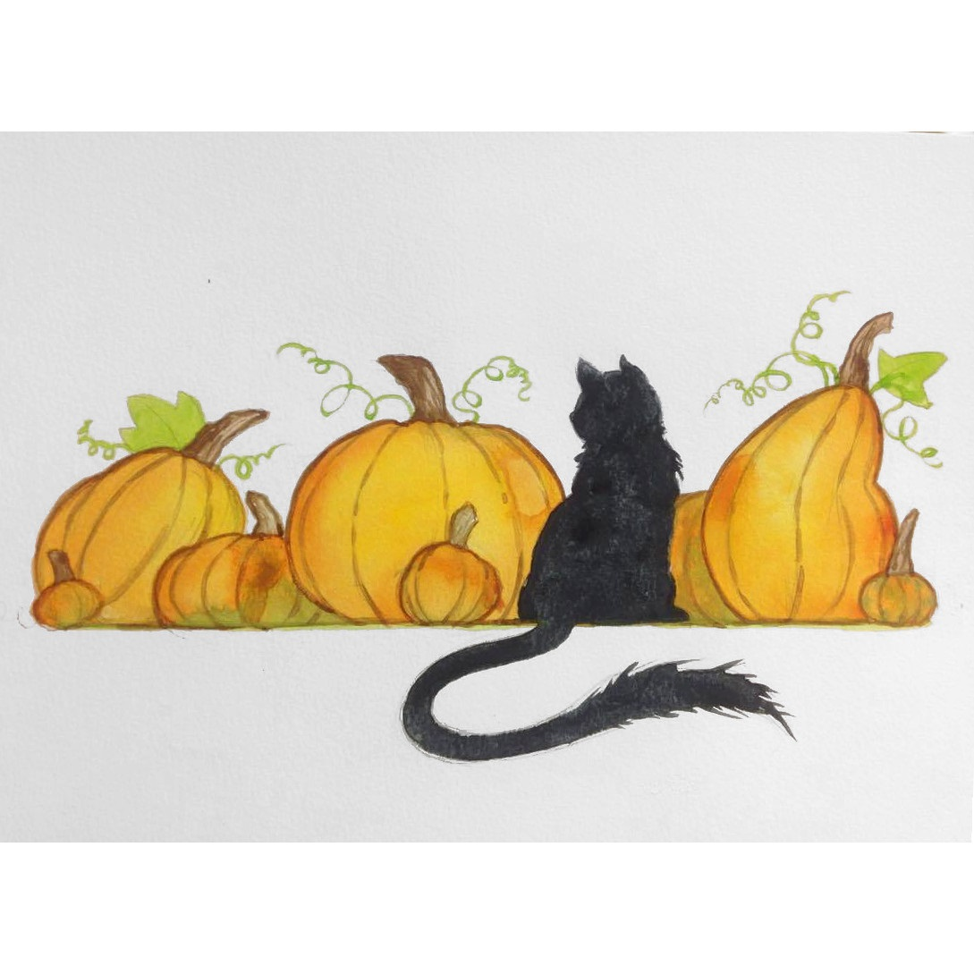 Watercolor Painting 1 - Cat Among Pumpkins   - November 29, 2017 (6:30 PM - 8:30 PM)