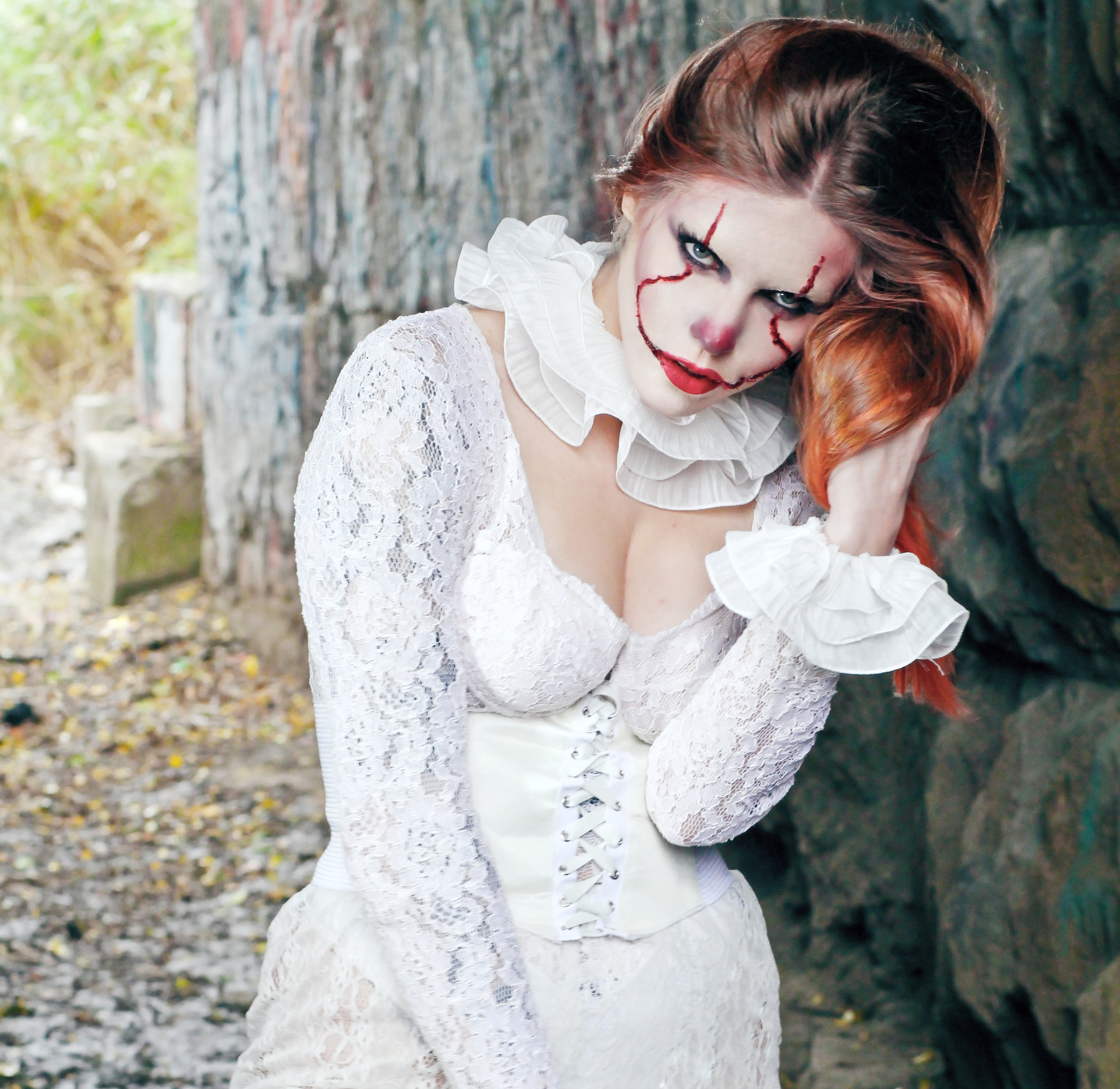Jonna McKechnie (Model/MAC MUA) reimagined as Pennywise in custom GWG lace costume.