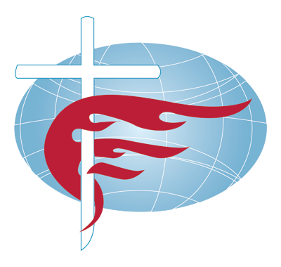 The Free Methodist Church's Logo includes the cross and a flame (representing the Holy Spirit) spreading across the entire world.