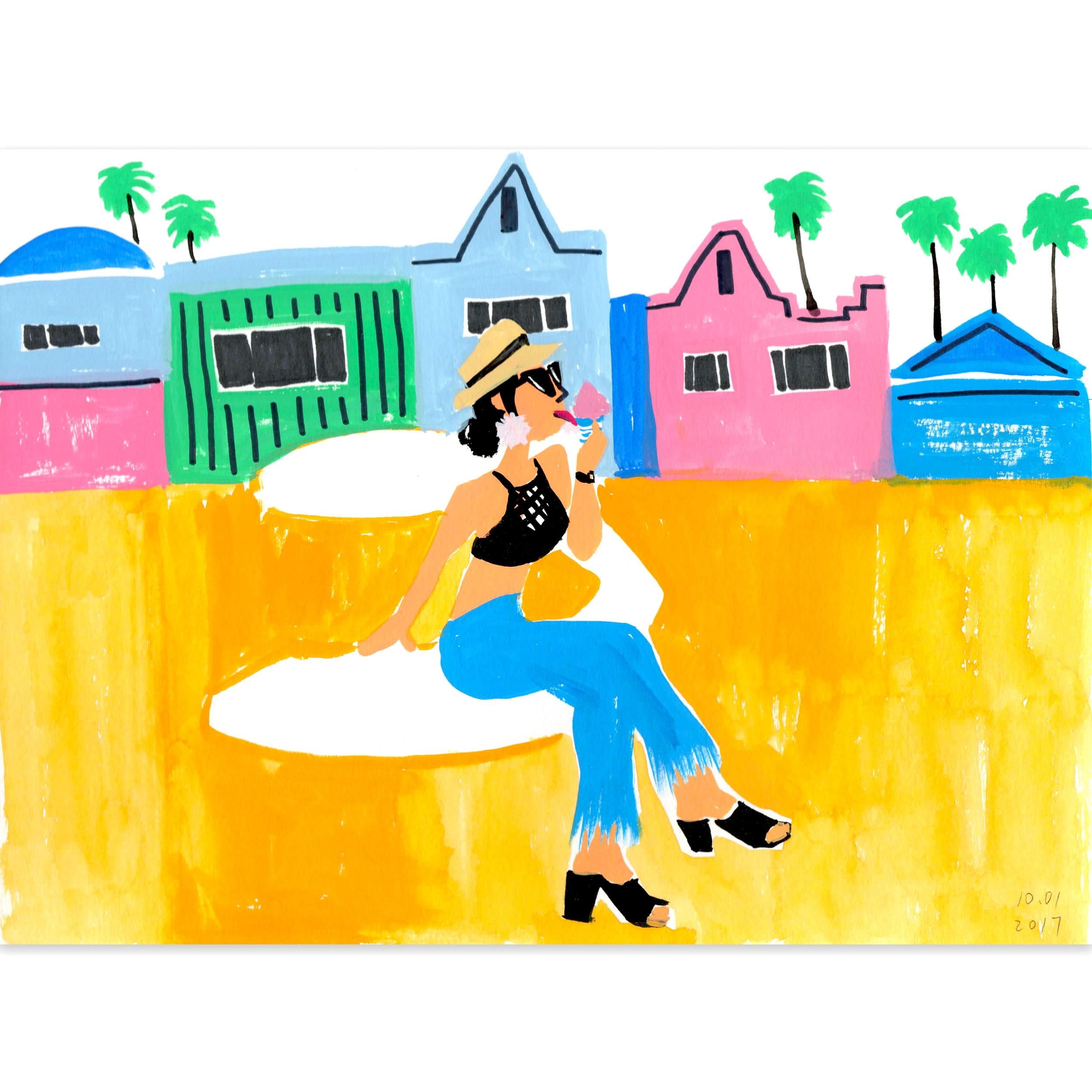 Gouache Practice - Venice Beach