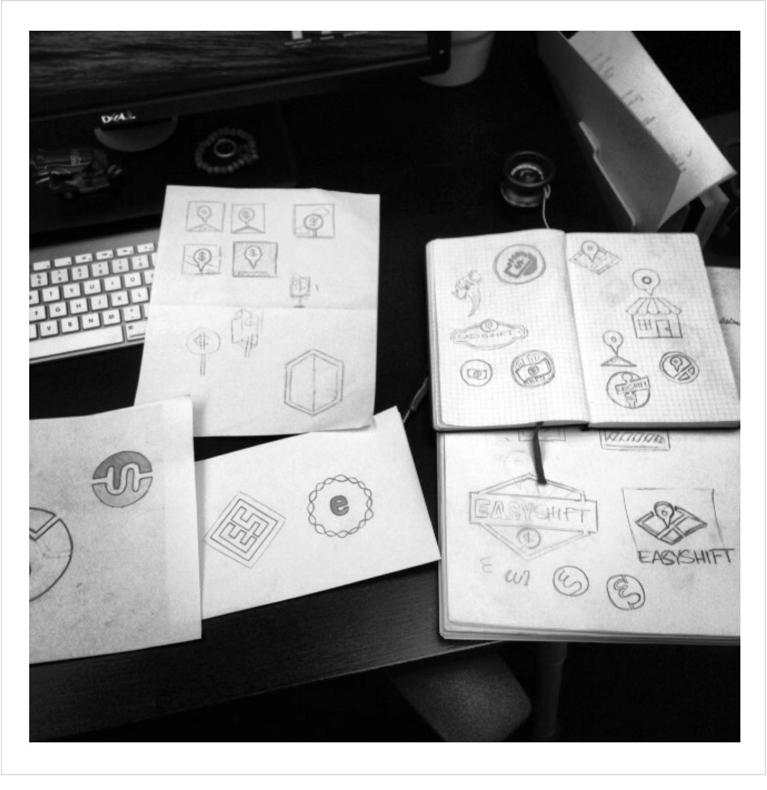 Fig 1. Original logo concept sketches