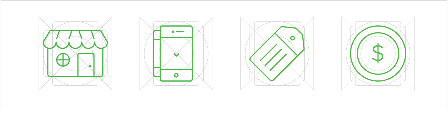 Fig 6. Custom icons drawn on grid and implemented as scalable .svg