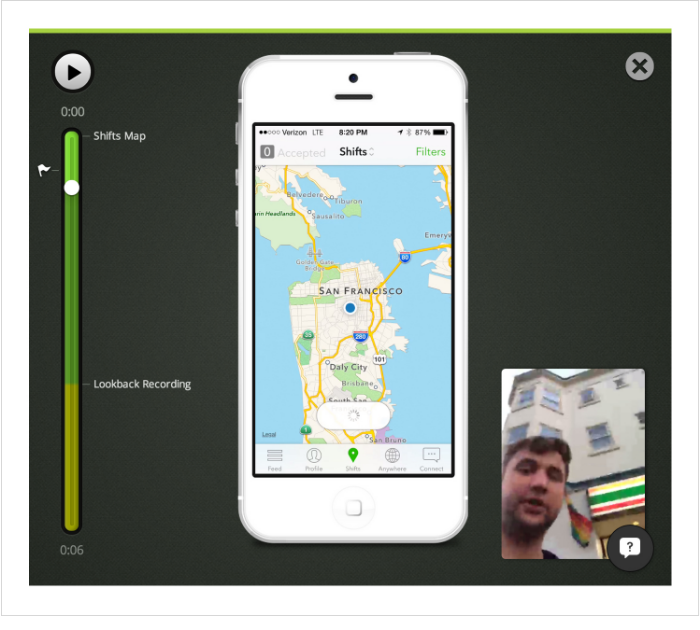Fig 5. Lookback.io SDK for iPhone allowed us to record remote tests in retail stores.