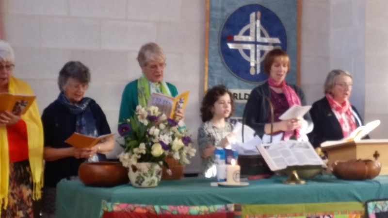 Singing hymns during the service