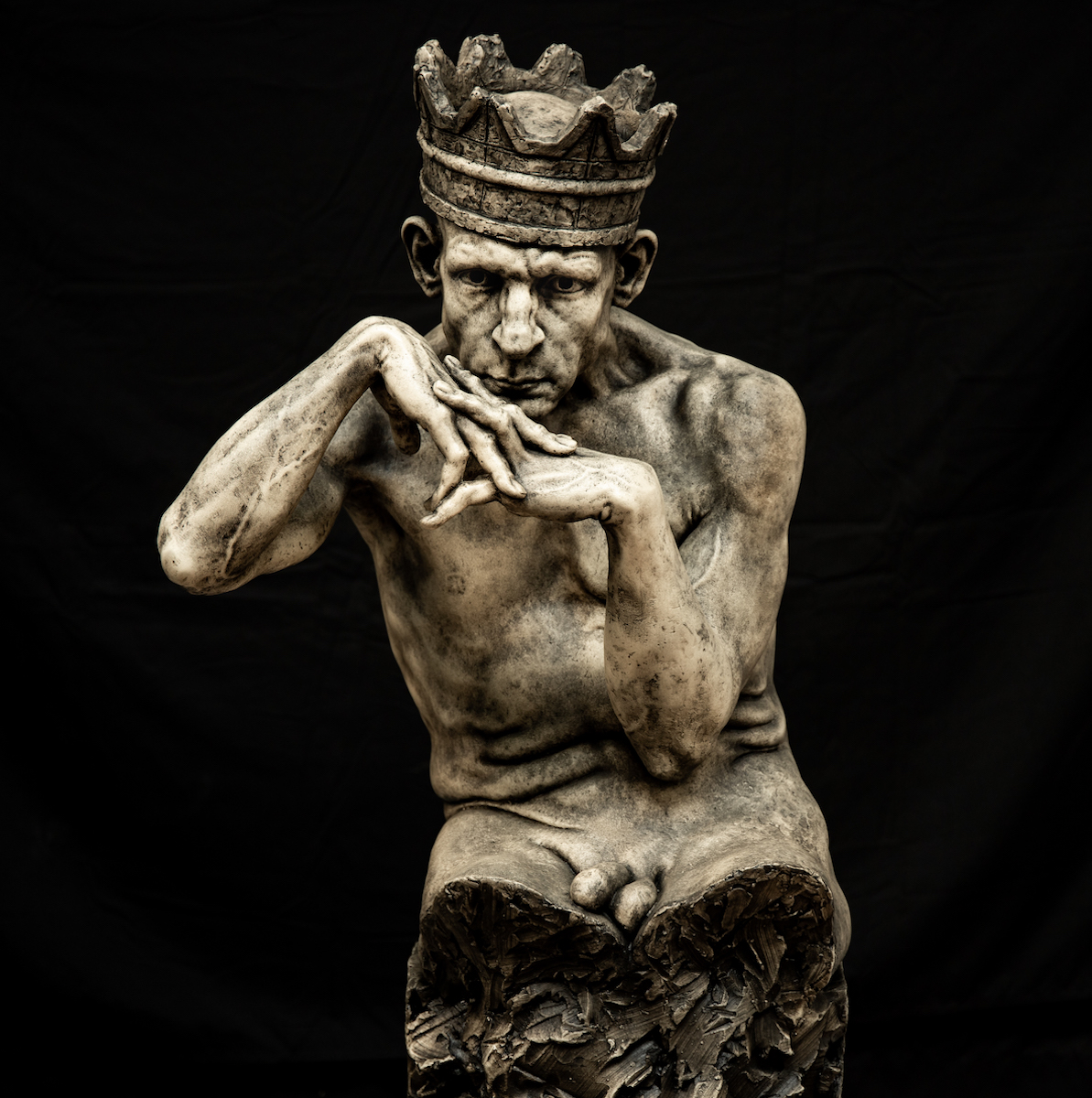 """EIRIK ARNESEN - """"The King of the Rusted Crown"""", aqua resin with hand applied oil patina3/4 life scale sculpture, issue 1 of 20$8,000Bronze is available by special request$38,000"""