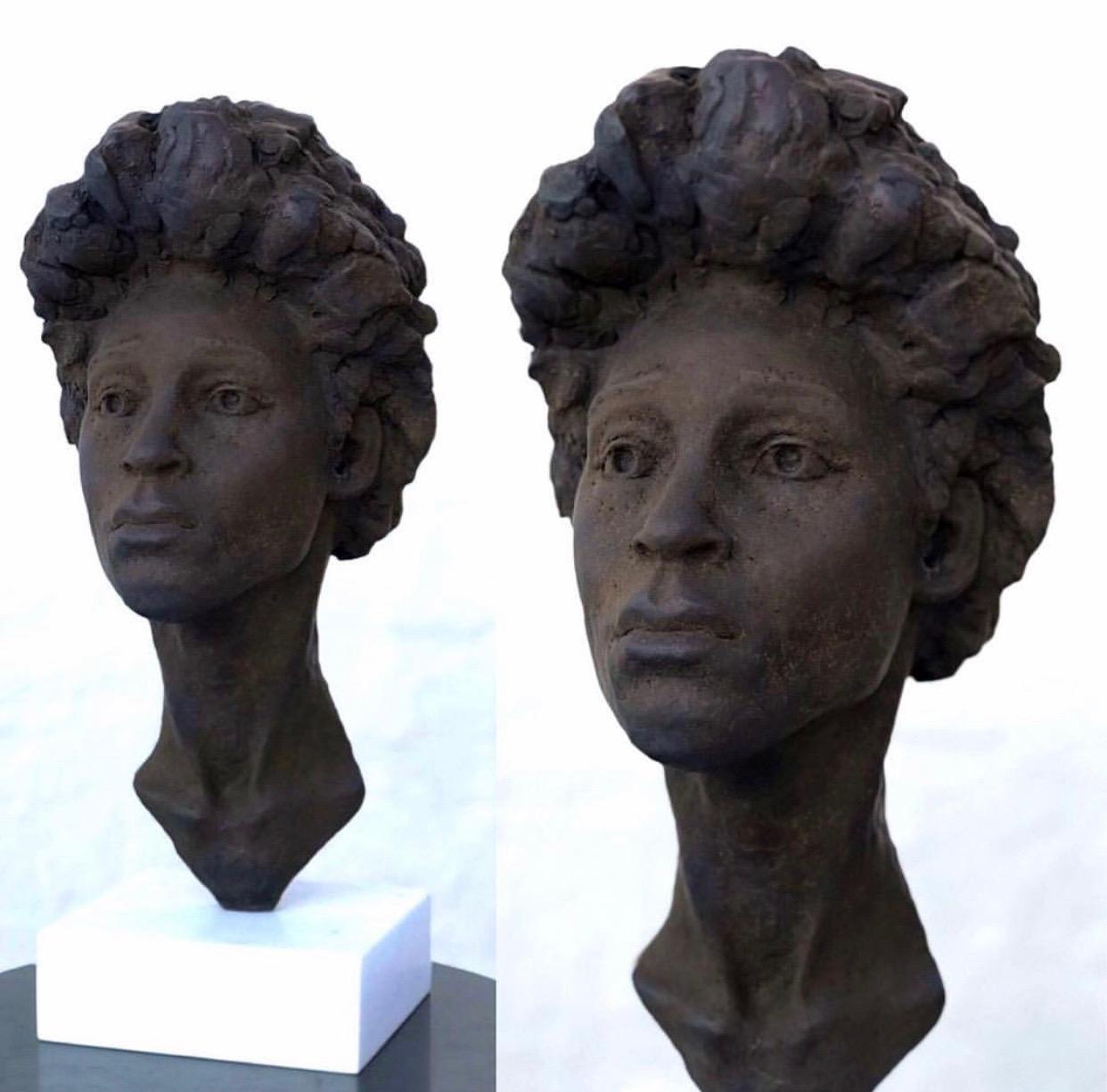 "EIRIK ARNESEN - ""Ruby"", aqua resin with hand applied oil patina on wooden base$1,000Bronze on marble base$3,000"