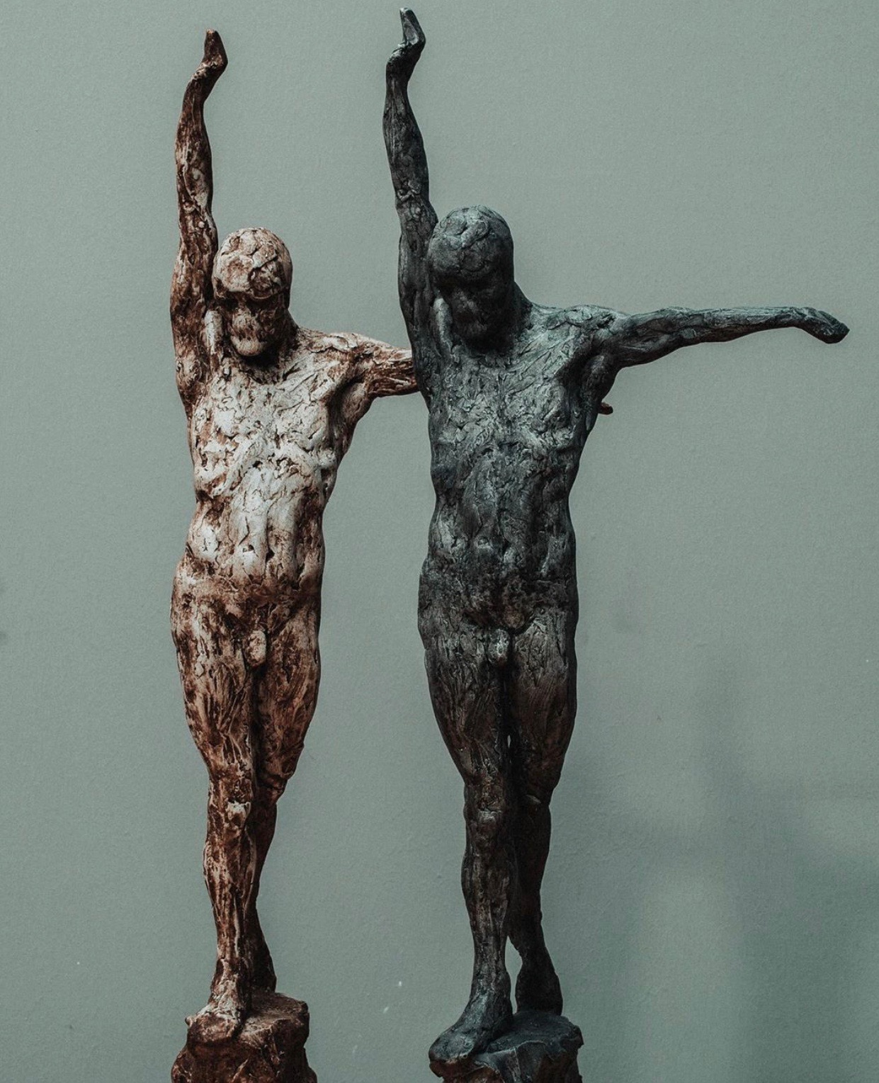 """EIRIK ARNESEN - """"Empyrean Maquette"""", aqua resin with hand applied oil patinatwo versionsumber $1,500charcoal $1,500"""