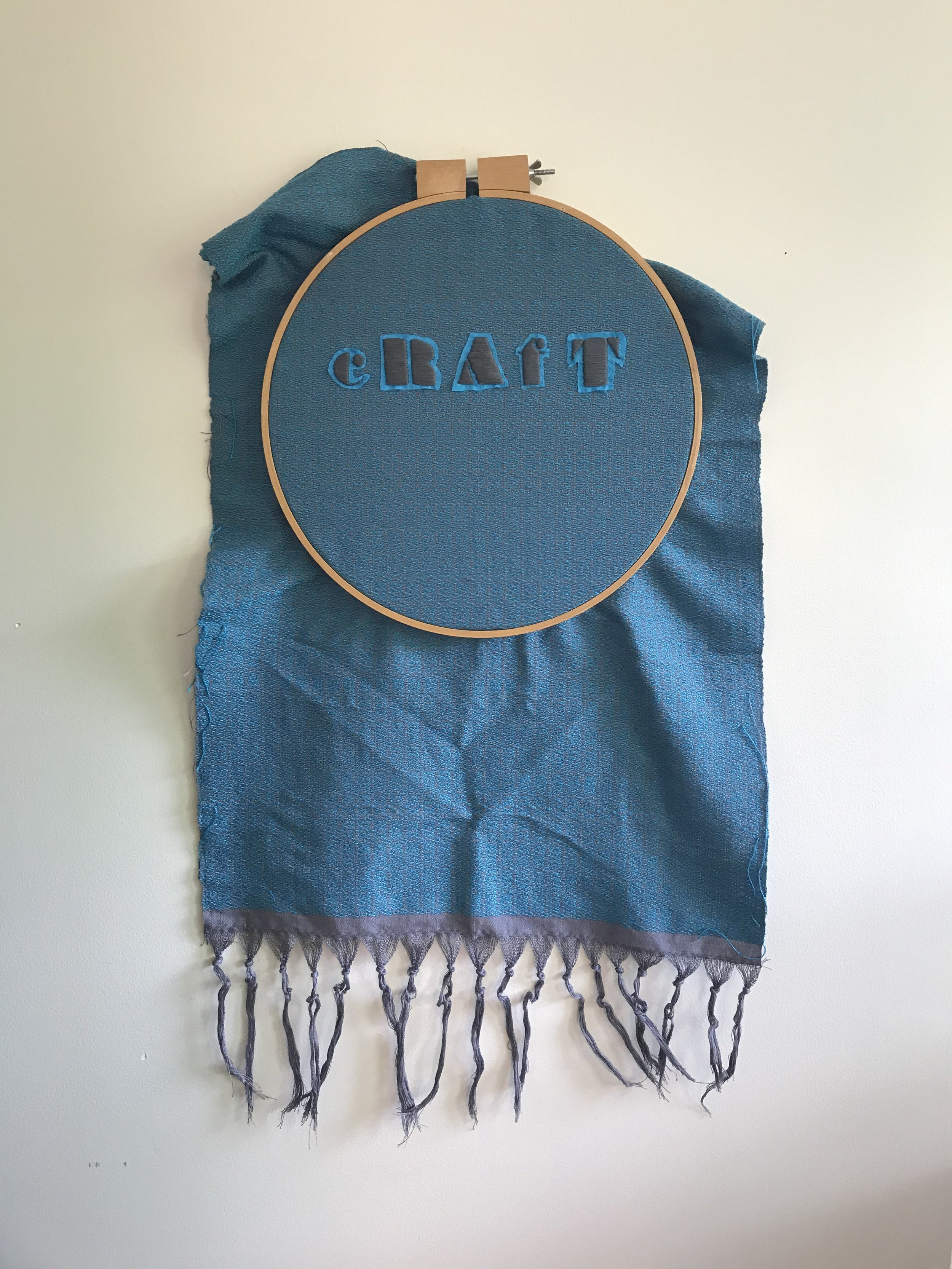 """SHANNON DOWNEY - """"cRAfT"""", handwoven tapestry with hand done stumpwork embroideryapproximately 20"""" x 36""""$2,500"""