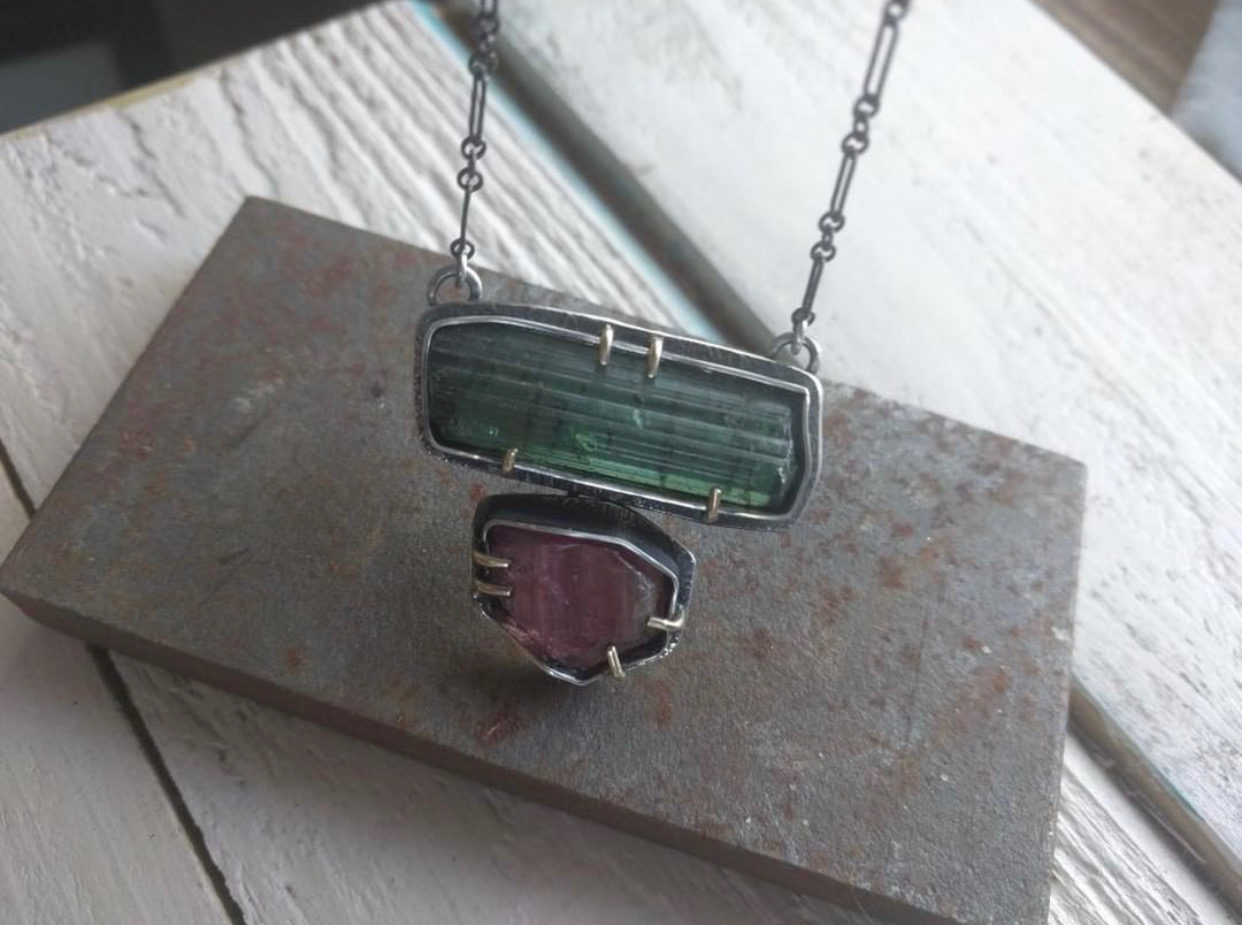"""SUSAN FAUMAN - """"Balance"""", sterling silver, solid 14K gold and raw tourmaline crystals$850 SOLD"""