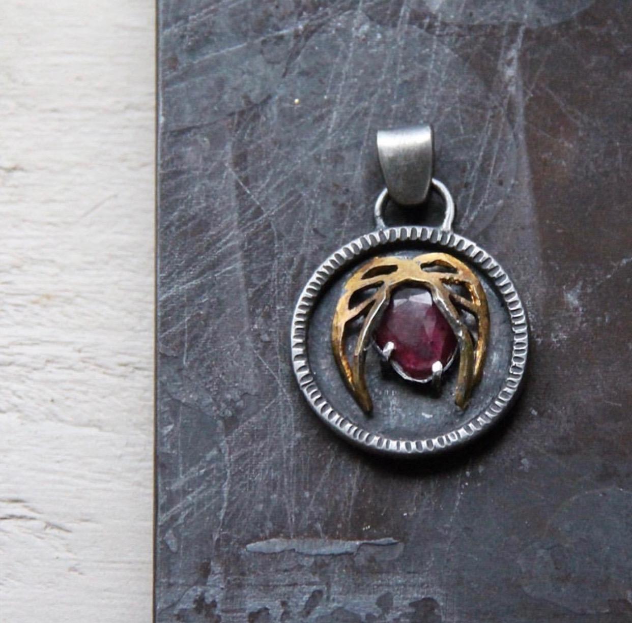 "SUSAN FAUMAN - ""Full Heart Talisman"", ruby, sterling silver, 24K gold$600"