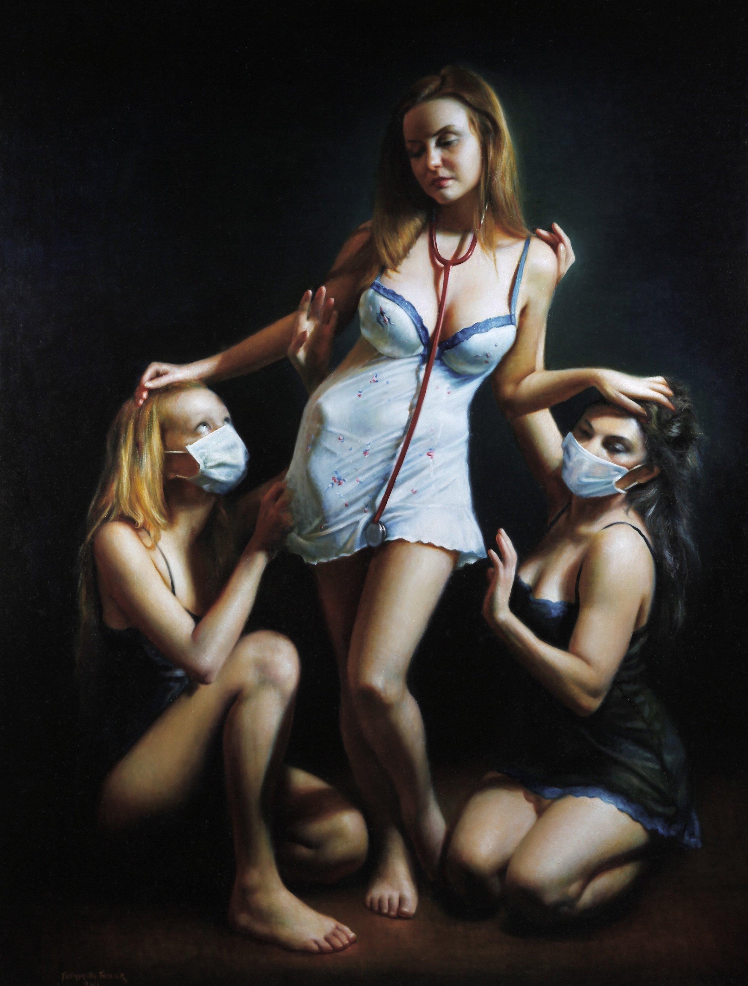 """ROSE FREYMUTH-FRAZIER - """"Three Nurses"""", oil on canvas 201154"""" x 70""""$22,500"""