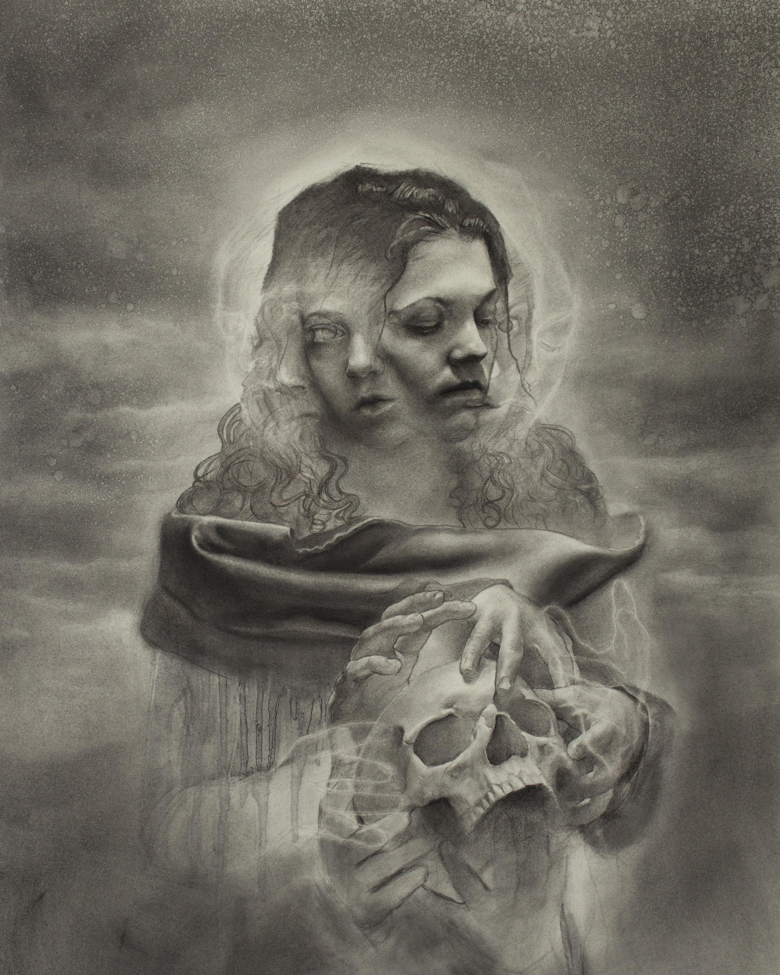 "FRANCESCO LOMBARDO - ""Sibyl I"", charcoal and acetone on illustration boardFramed 26.75"" X 37""$3,800"