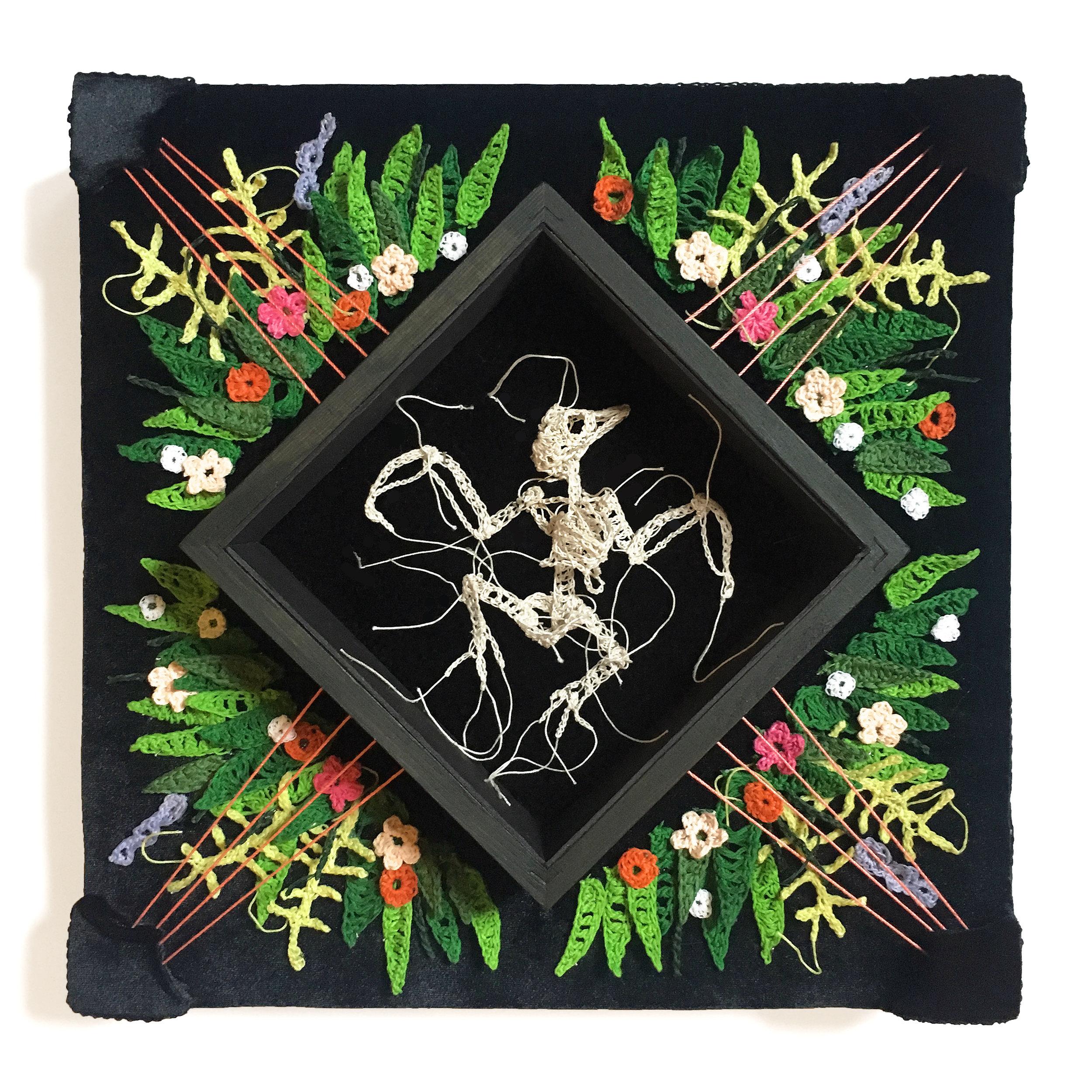 """CAITLIN MCCORMACK - """"Litterfall"""", crochet cotton string, glue, steel pins, velvet, custom wood frame12"""" X 12"""" X 4.5""""$950"""