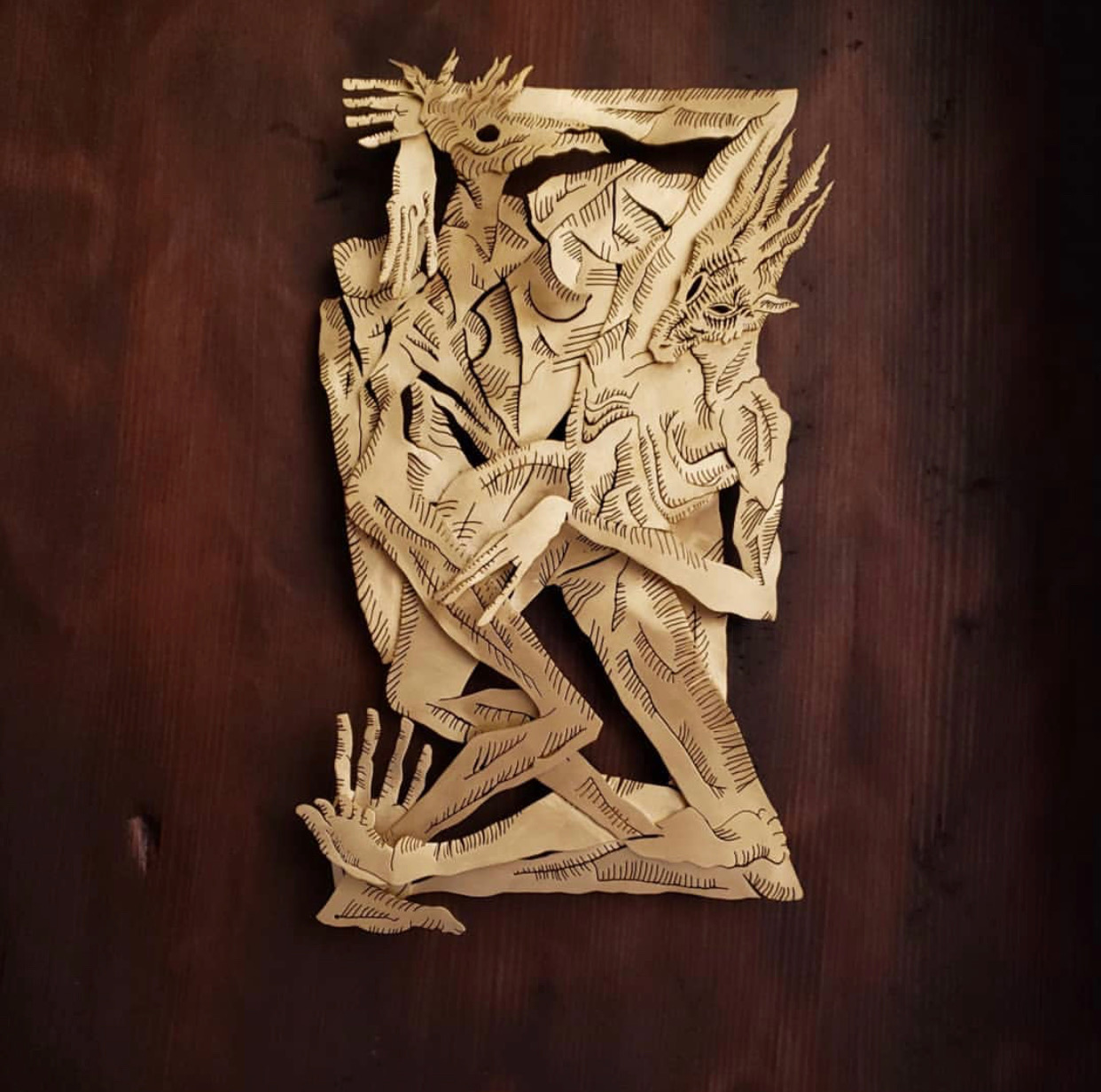 "TAVO MONTAVO & DANIEL ACOSTA COLLABORATION - ""Prelude"", handcut brass in handmade, reclaimed redwood shadow box frame15"" X 12"" X 3""$5,000"