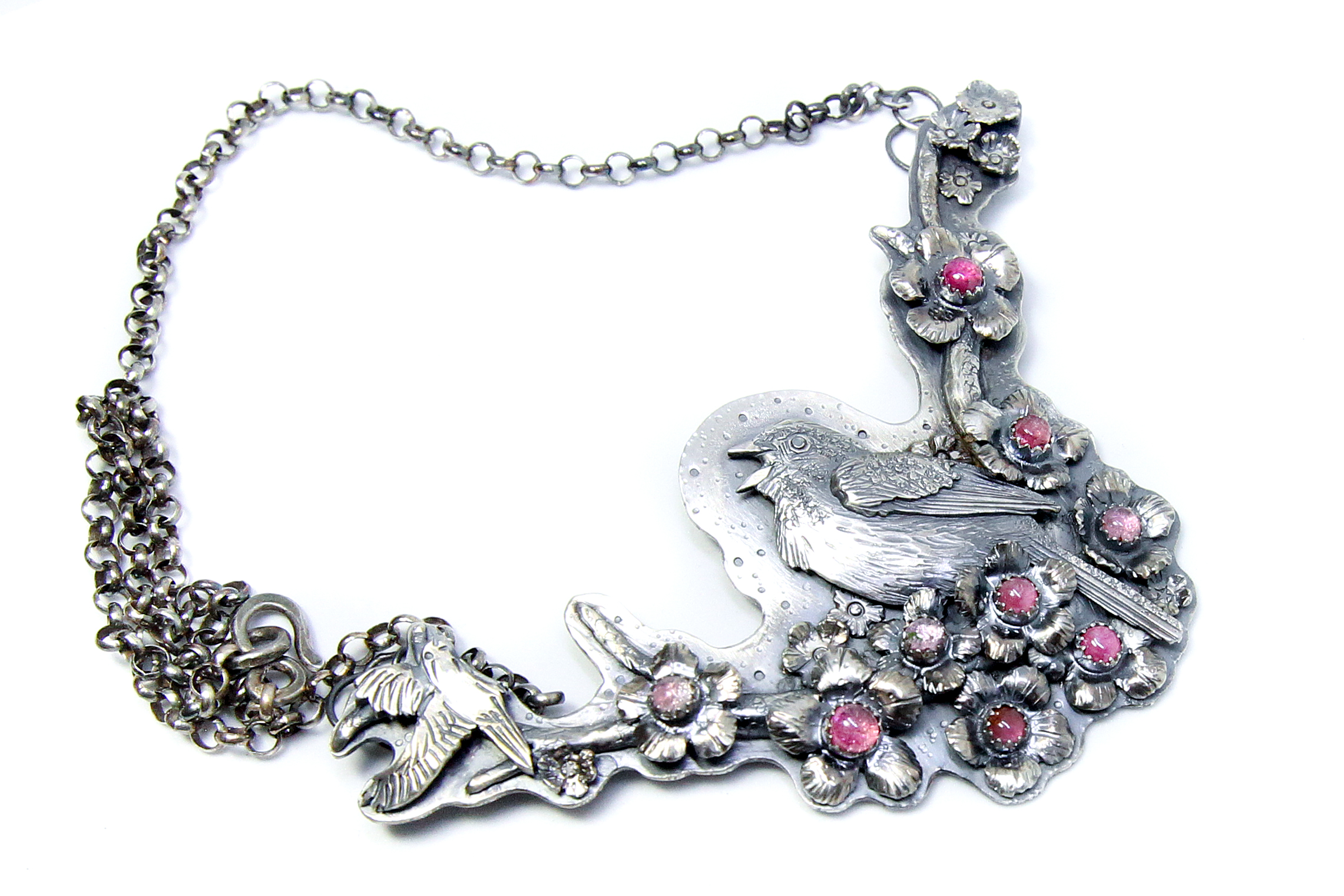 """MICHAELA SAGATOVA signed THORNBIRD JEWELRY - """"Seasons in the Sun"""", fine and sterling silver with natural tourmaline.119mm X 65mm on 19"""" sterling rolo chain$2,200"""