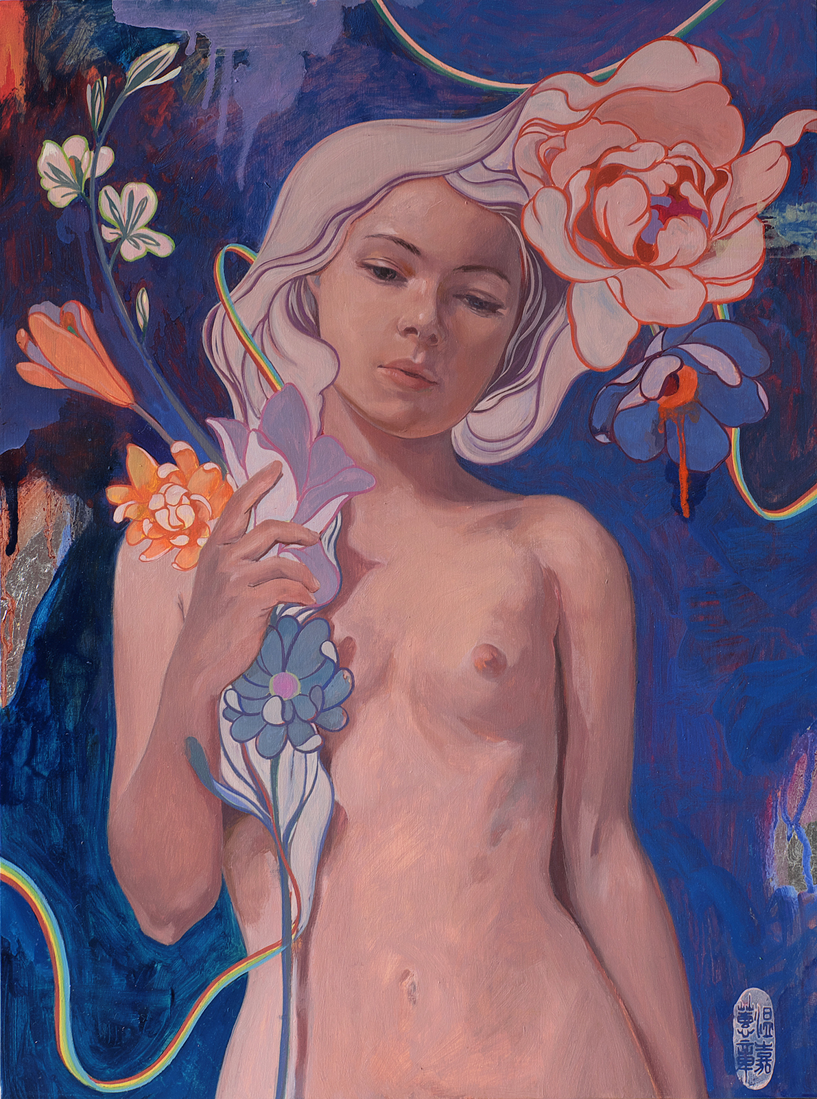 """HELICE WEN - """"Melody"""", oil and silver foil on wood panel12"""" x 16""""$975 SOLD"""
