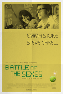 Battle of the Sexes   (2017) dir. Jonathan Dayton & Valerie Faris Rated: PG-13 image: ©2017  Fox Searchlight Pictures