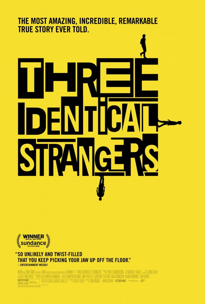 Three Identical Strangers   (2018) dir. Tim Wardle Rated: PG-13 image:©2018  Neon