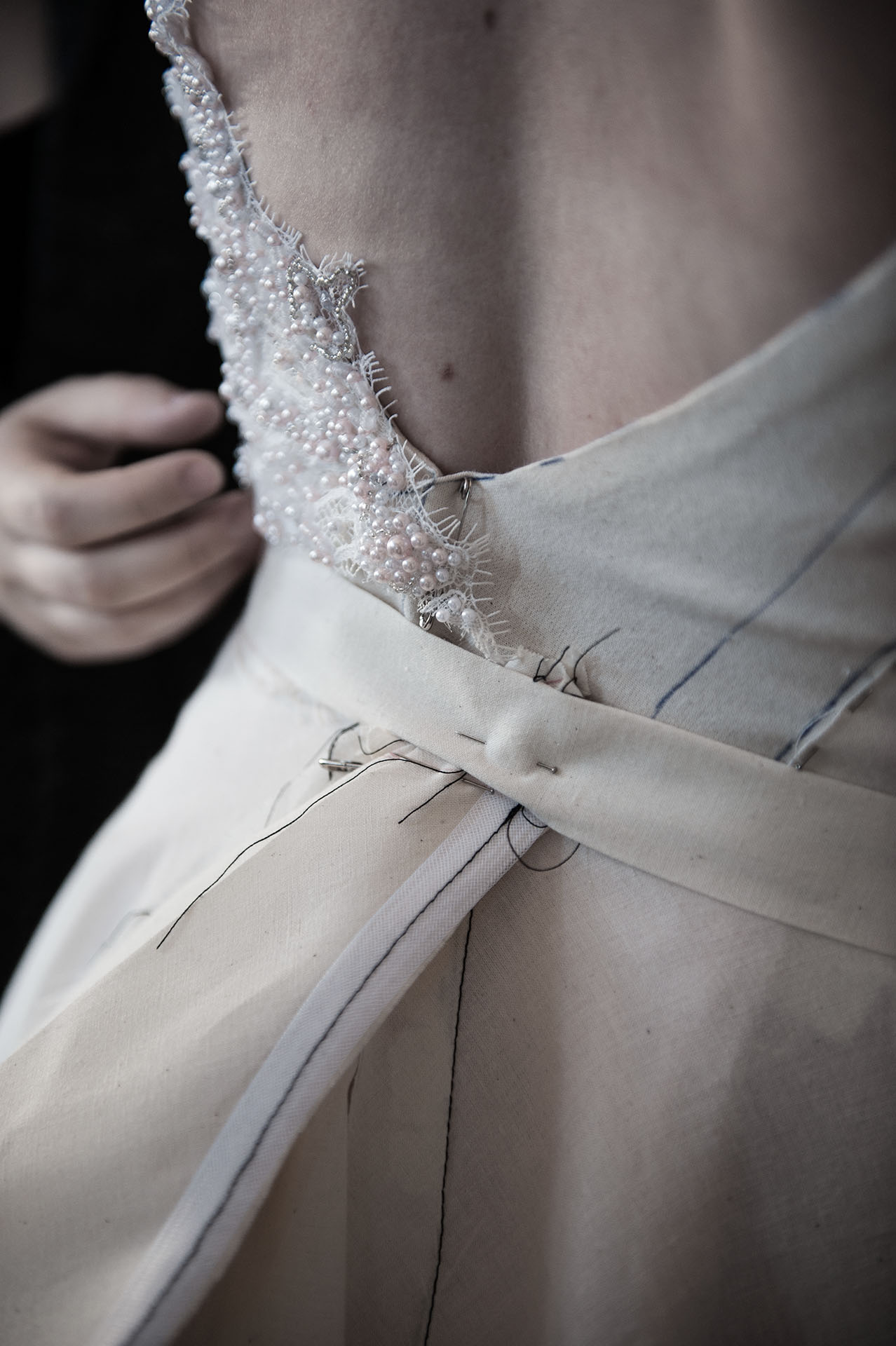 we don't put a size tag on - When visiting our studio, you can preview samples from our past collections. We will walk you through exactly how each style will fit you when it is your size and correctly proportioned to your body. We produce gowns to fit any size. Your wedding dress will be the perfect fit for your body and your personality.