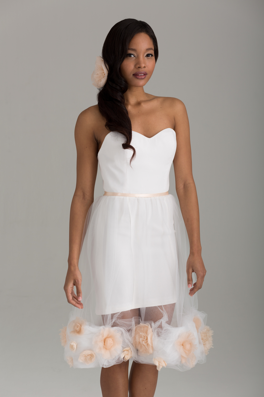 "NKB17-85001 ""Sofia"" Corseted Mini-Dress & NKB17-83003 ""Peach Camellia"" Short Tulle Skirt with Satin Ribbon Waist-Tie"