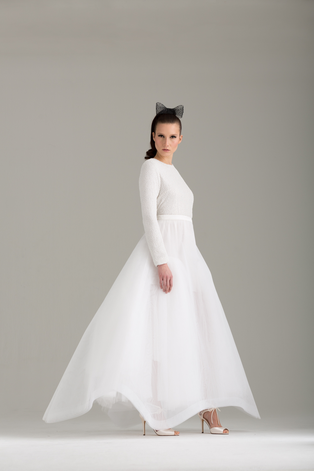 """NKB17-81003    """"Caryophyllales"""" White Beaded Top with Cut Out Back &  NKB17-83005  """"Christina"""" White Tulle Mesh A-line Skirt"""