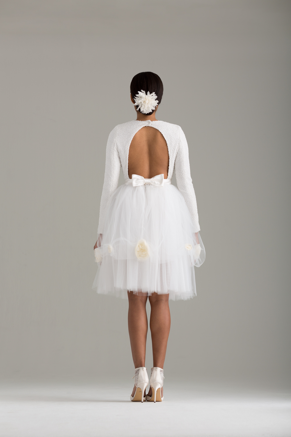 """NKB17-81003    """"Caryophyllales"""" White Beaded Top with Cut Out Back &  NKB17-83002  """"Peony"""" White Tulle Skirt"""