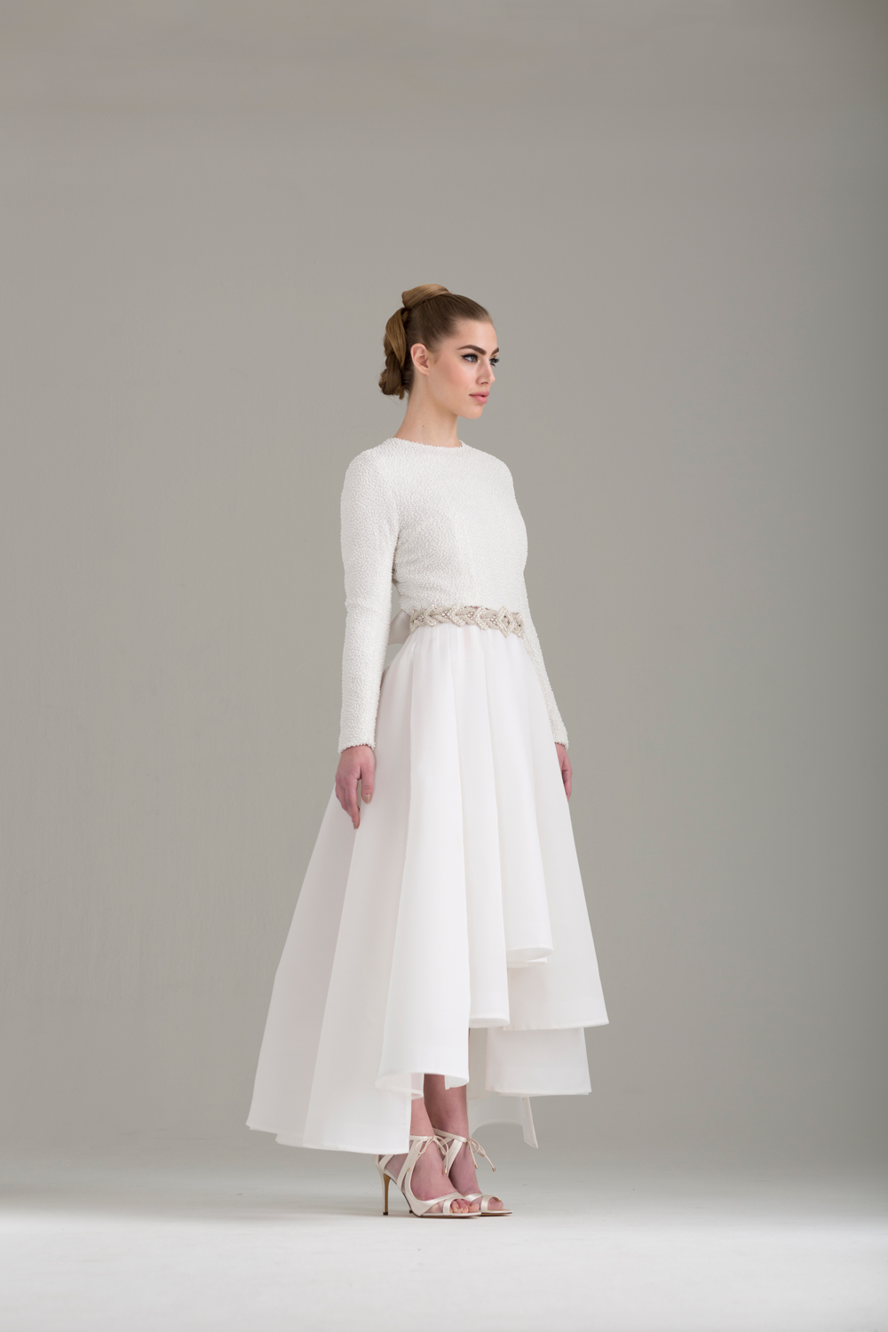 """NKB17-81003    """"Caryophyllales"""" White Beaded Top with Cut Out Back &  NKB17-83006  """"Magnolia"""" White Silk Gazar Multi Layers Pleat Skirt"""