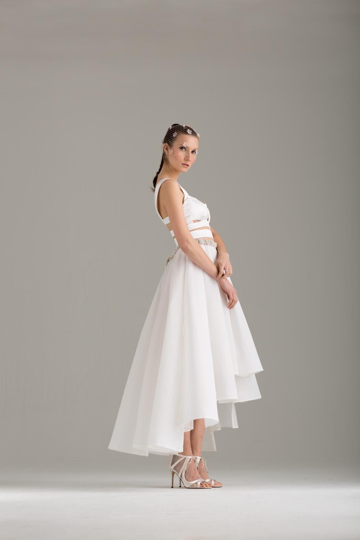 "NKB17-81002    ""Apoidea"" Satin and Mesh Crop Top &  NKB17-83006  ""Magnolia"" White Silk Gazar Multi Layers Pleat Skirt"