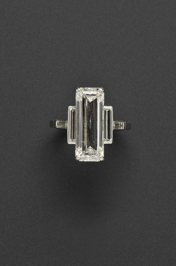 7.75-CARAT DIAMOND CARTIER RING to be auctioned at Skinners in Boston I like the deco design but can't pony up the $80,000-100,000 it will go for