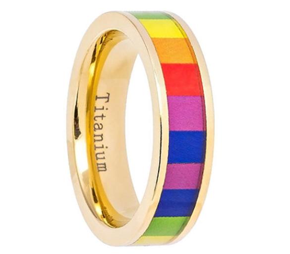 Rainbow Titanium Wedding Band    by Lasercraftdesign on Etsy