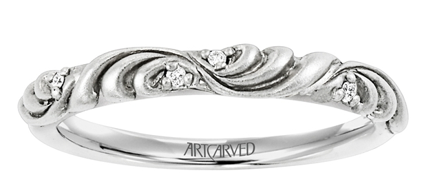 Women's Wedding Band With Floral Carving and Diamond Accents  by Larson Jewelers