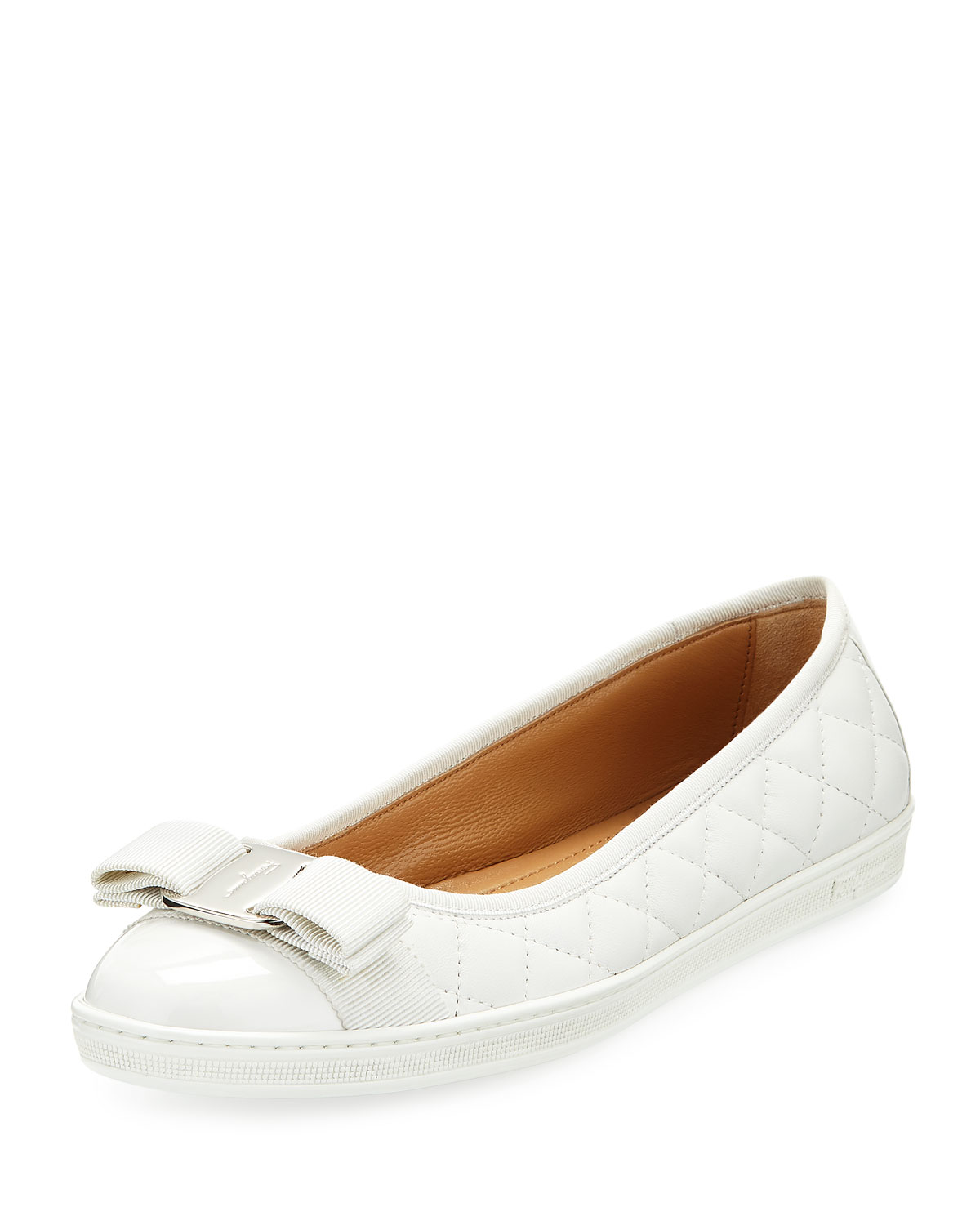 Salvatore Ferragamo Rufina Quilted Leather Bow Sneaker   $460.00
