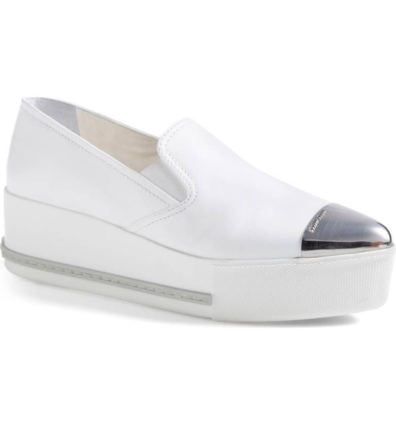 MIU MIU Metal Cap Toe Platform Sneaker   $595