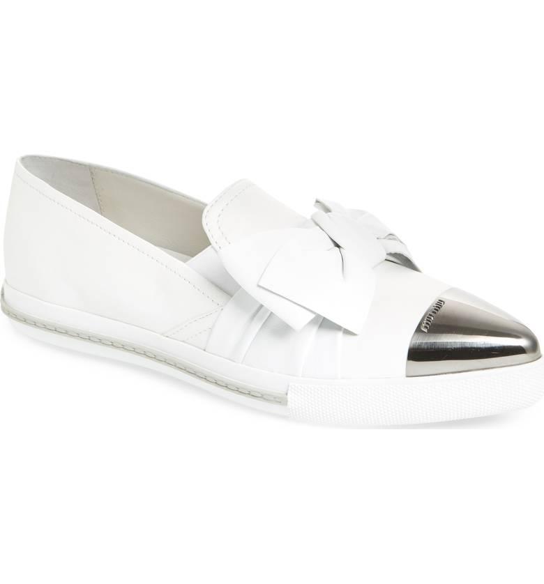 MIU MIU Cap Toe Hidden Wedge Sneaker   $685