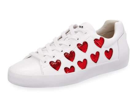 Ash Nikita Sequin Heart Sneaker, White/Red    $198.00