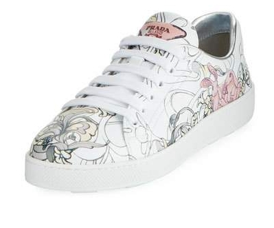PRADA Rabbit-Print Leather Low-Top Sneaker    $690